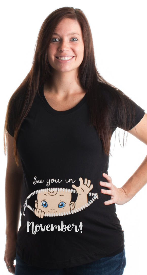 See you in November! | Cute Pregnancy Humor, New Mommy Scoop Neck Maternity Top
