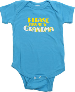 "Ann Arbor T-shirt Co. Unisex Baby ""Pass Me to Grandma"" Funny Infant One Piece"