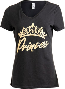 Princess | Cute, Funny Girly Royalty Tiara Crown Humor V-neck T-shirt for Women