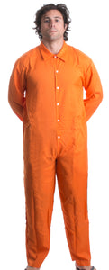 Prisoner Jumpsuit | Orange Prison Inmate Halloween Costume Unisex Jail Criminal