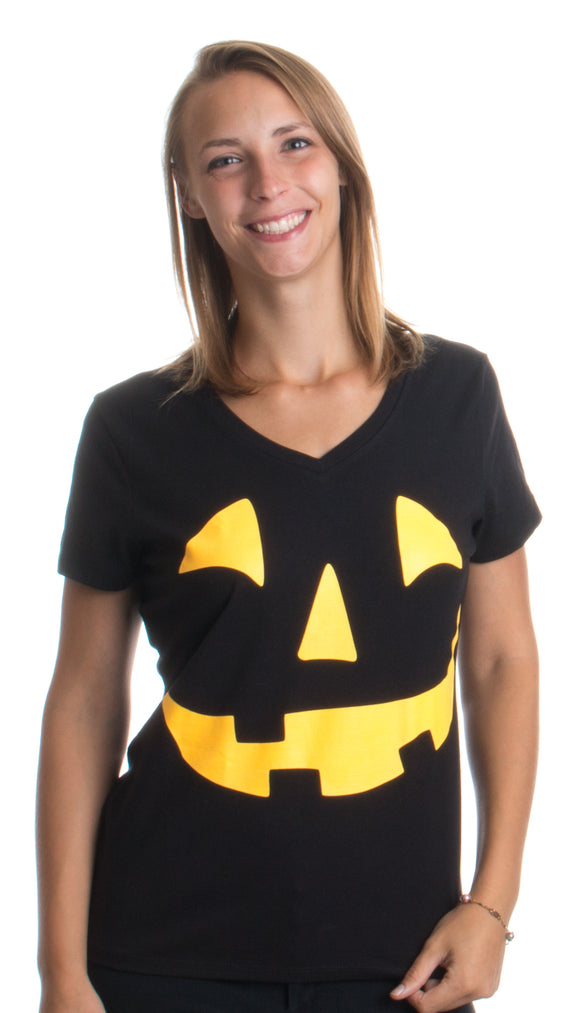 Glow in Dark Jack O' Lantern | Halloween Pumpkin Costume Women's V-neck T-shirt