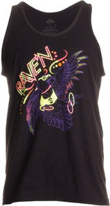Ravin' Raven | Neon Glow Ink Funny Music Festival Beach Party Rave EDM Tank Top