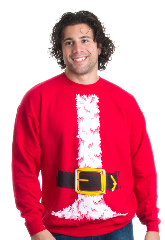 Santa Claus Costume | Novelty Christmas Sweater, Holiday Crewneck Sweatshirt