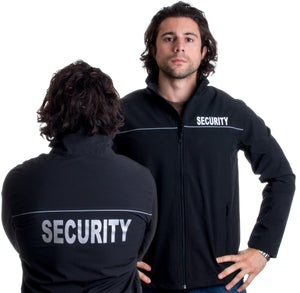 SECURITY | Fleece Lined Soft Shell Guard Jacket - Sewn Front, Reflective Back