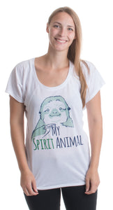 My Spirit Animal | Cute, Funny Sloth Lover Napping Ladies' Open Neck T-shirt