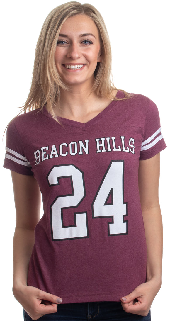 Stilinski #24 | Sexy Beacon Hills Wolf Lacrosse Jersey Teen Women V-neck T-shirt