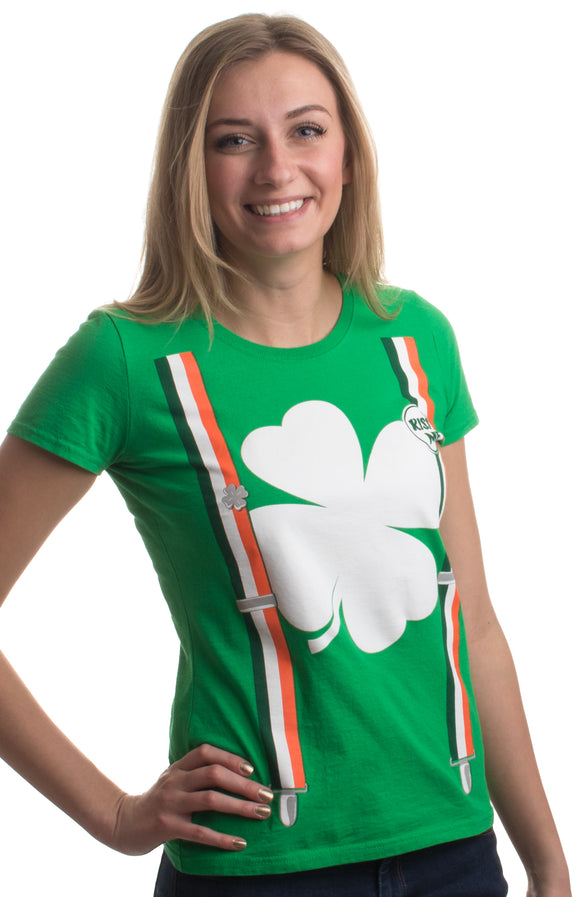 St. Patrick's Day Shamrock Suspenders | Funny St. Paddy Irish Women's T-shirt