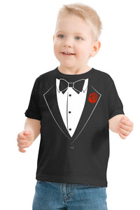 Ann Arbor T-shirt Co. Big Boys' Tuxedo Tee | Kid's Wedding Youth & Toddler Shirt