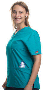 Cute Unicorn | Animal Character Print Pediatric Medical Uniform Scrub Top Women