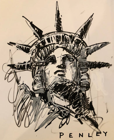 Liberty- acrylic sketch on paper