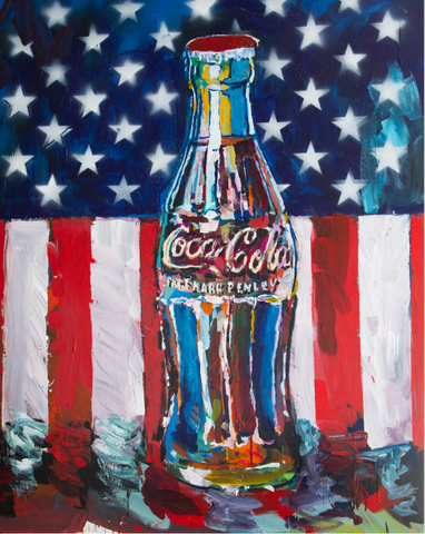 Coke Bottle with Flag