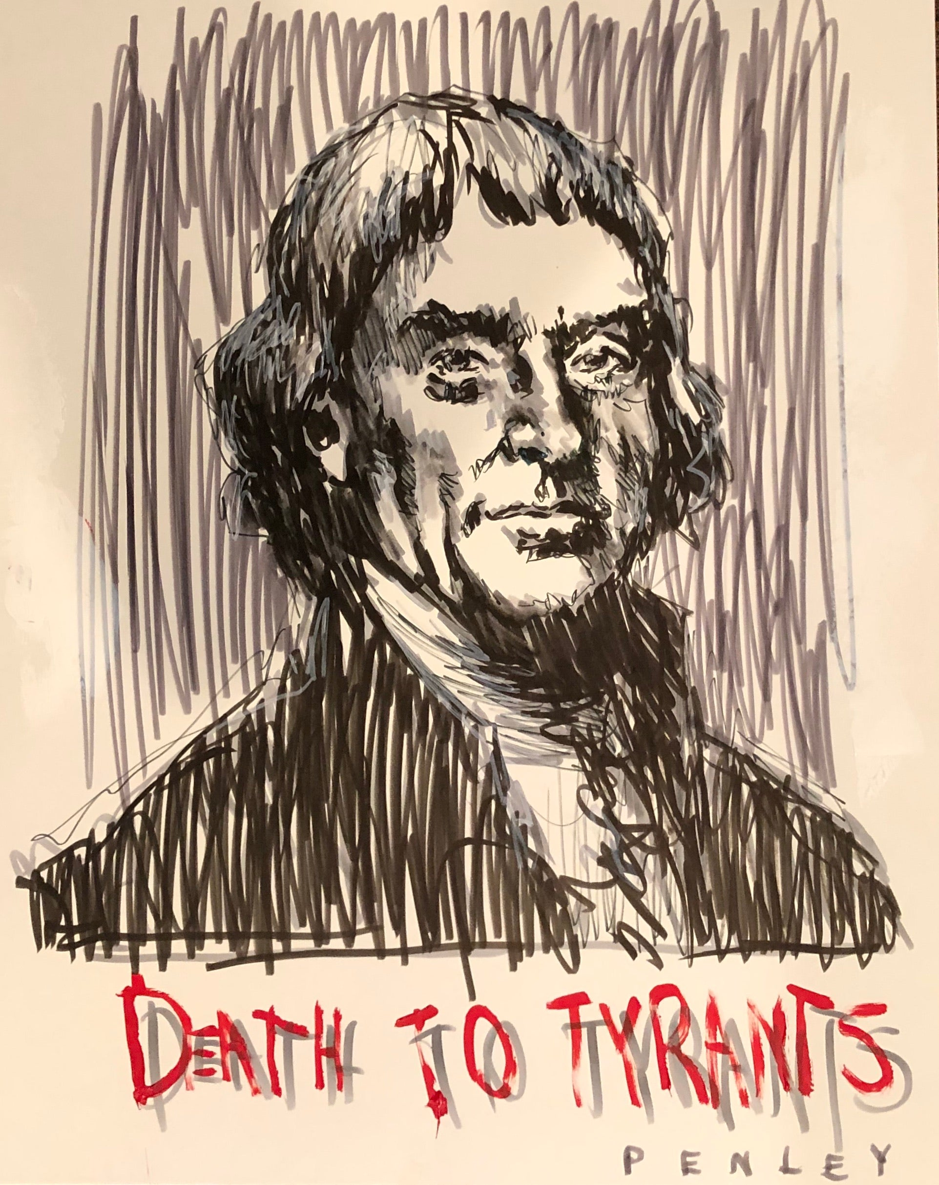 Thomas Jefferson- Death to Tyrants red 2