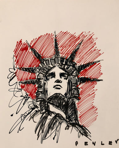 Liberty Red- acrylic sketch on paper
