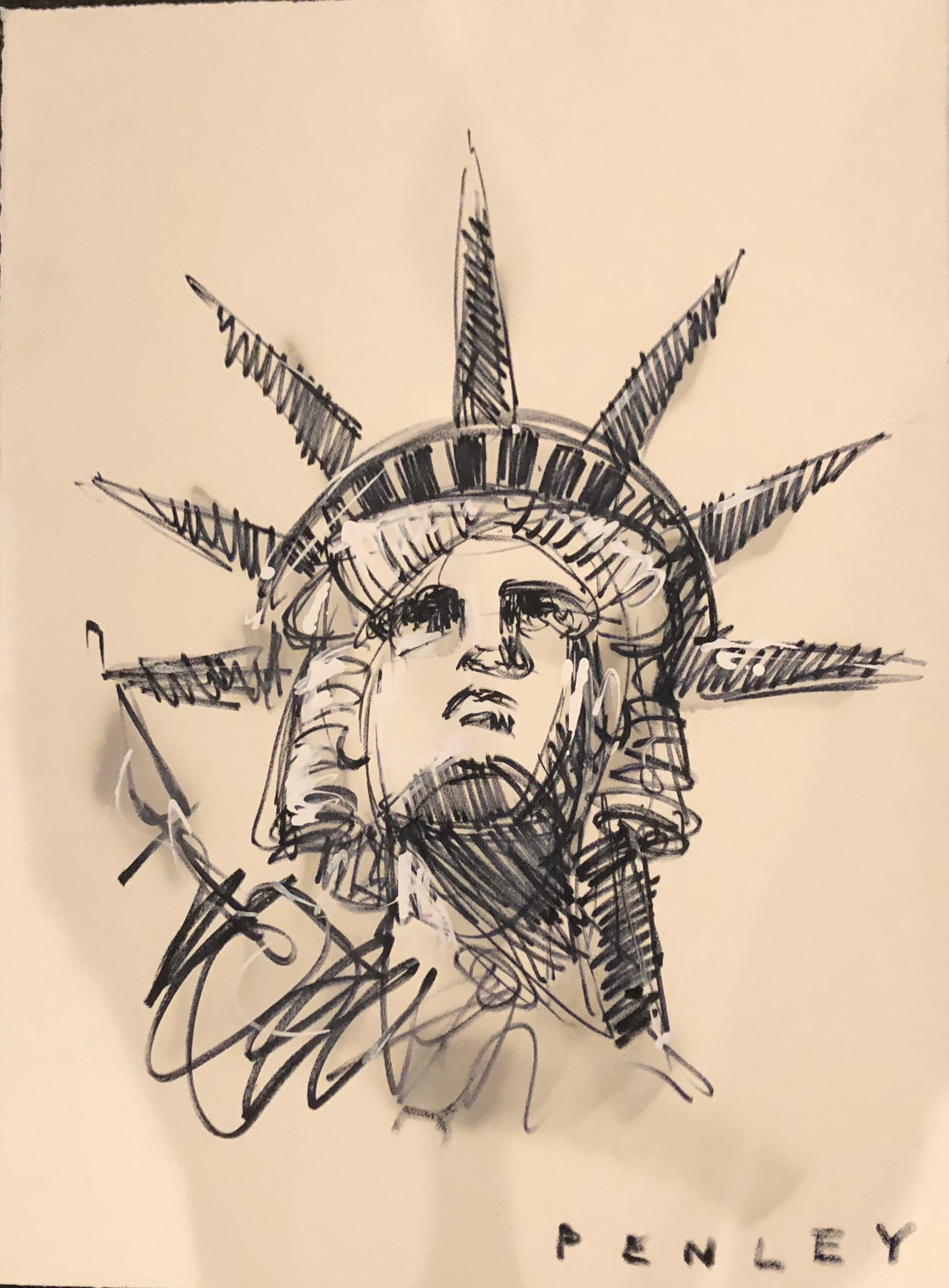 Liberty II- acrylic sketch on paper