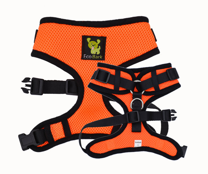 EcoBark Orange Comfort-Fit Neck Adjustable Dog Harness