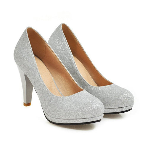Round Toe Wedge Heels Womens Pumps