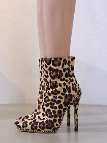 Leopard Print Pointed Toe Stiletto Heel Boots