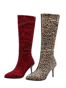 Leopard Print Zipper Heel Tight Boots