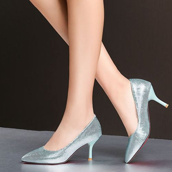 Pointed Toe Kitten Wedding Heels Pumps