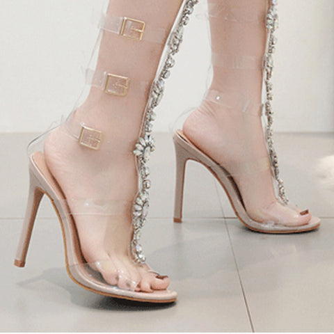 Clear Peep Toe Buckle High Heels Crystal Adorned Sandals
