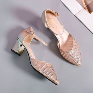 Pointed Hollow Buckle Wedge Heel Sandals