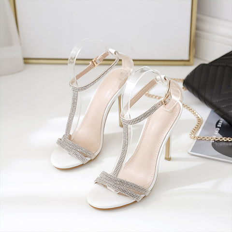 Open Toe Diamond Decor Strappy Block Sliver Wedding Heels