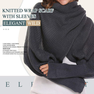 Knitted Wrap Scarf With Sleeves(New arrival)