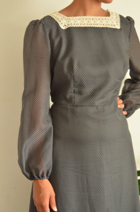 Vintage Black Polka Dot Trivera Maxi Dress