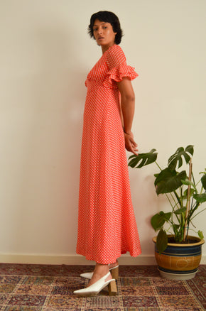Vintage Red Polkadot Maxi Dress