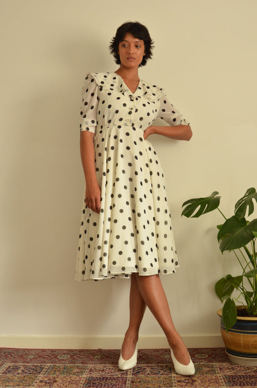 Vintage Cream Black Polka Dot Midi Size 10