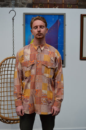 Vintage Orange Patchwork Shirt Yves Dorsey - SIZE XXL