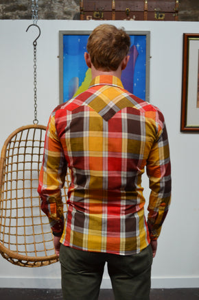 Vintage Orange Red Check Shirt - SIZE S