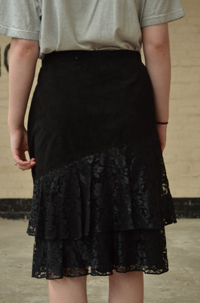 Vintage Black Suede & Lace Skirt Size 10