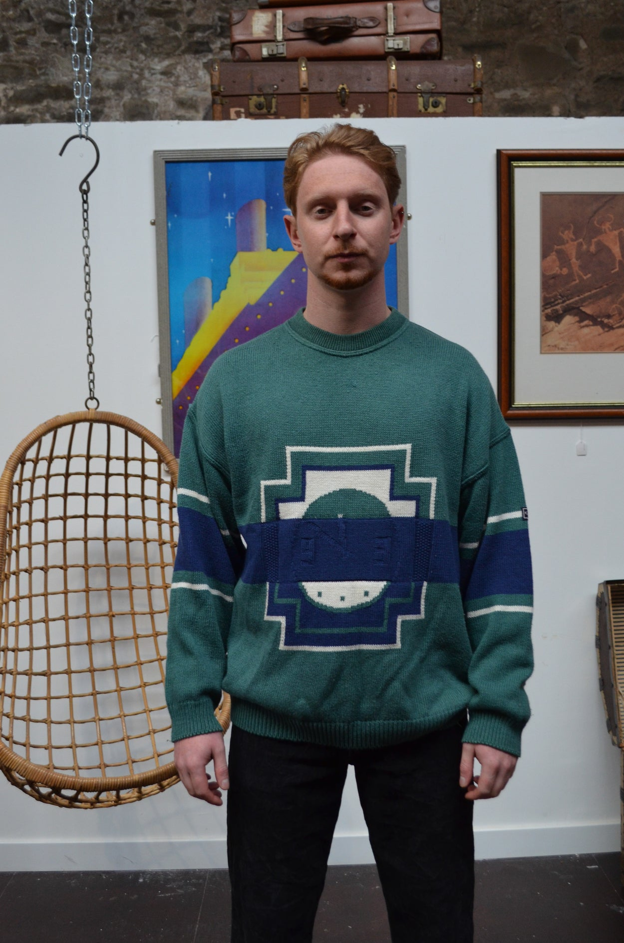 Vintage Green and Blue Knitted Jumper - SIZE XL