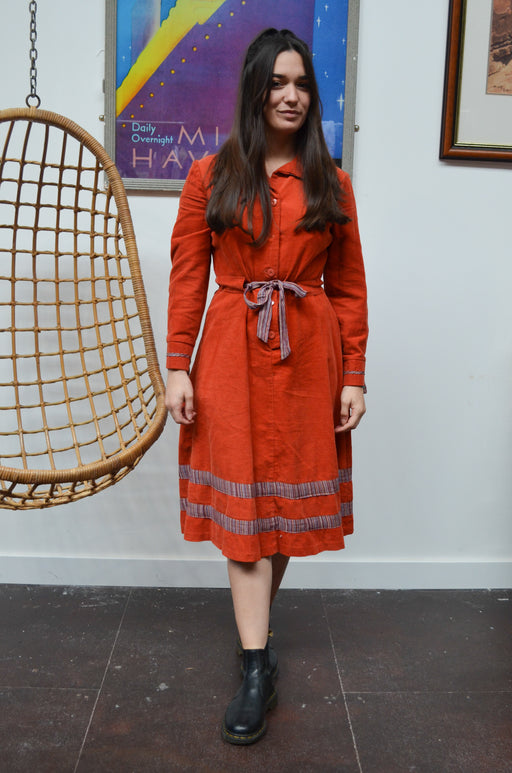 Vintage Orange Corduroy Midi Dress - SIZE 10