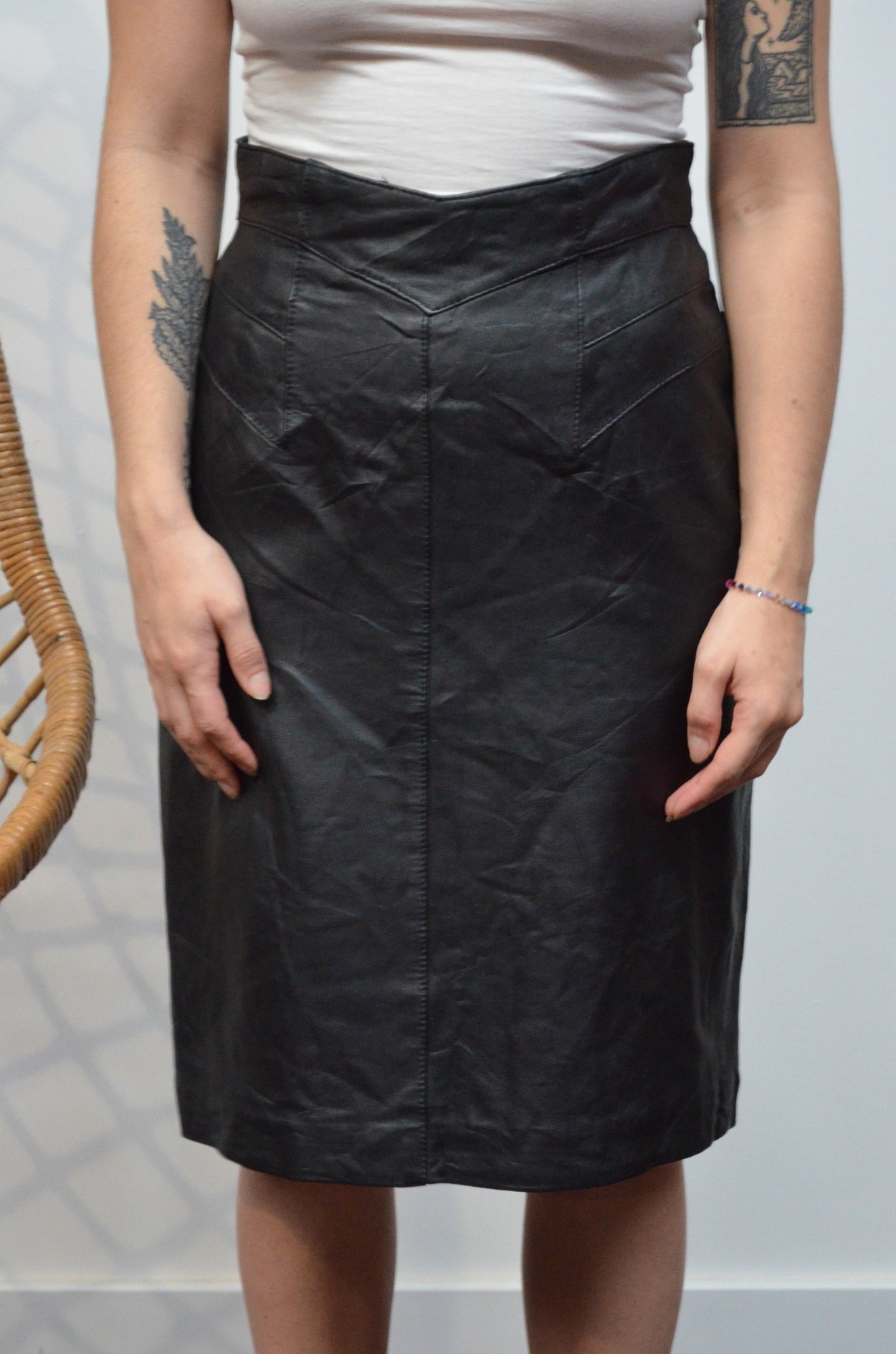 Vintage Black Leather Pencil Skirt - SIZE 8
