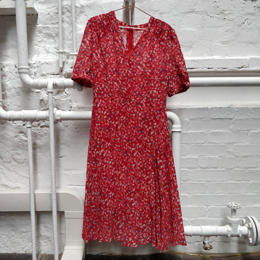 Vintage 90s C&A Floral Red Pleated Midi Dress Size 12