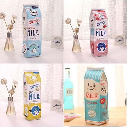 Cartoon Milk Carton Pencil Case - Strawberry Notebook