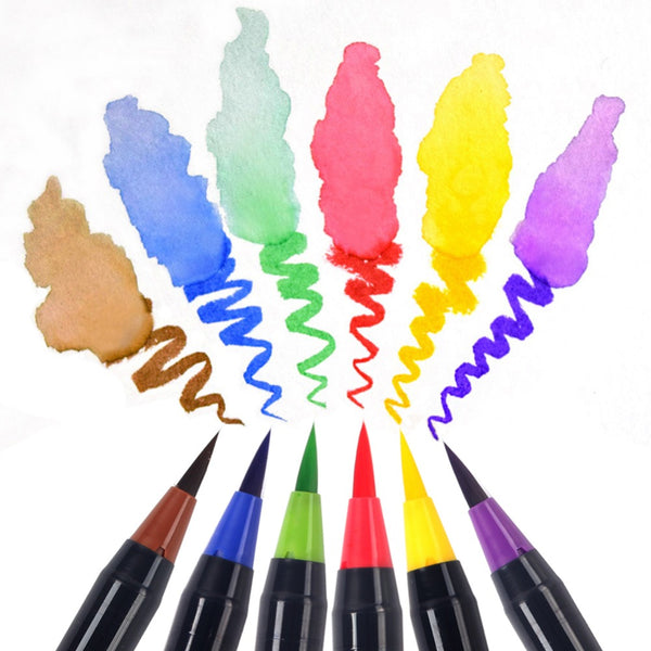 20 Color Premium Painting Soft Brush Pen Set Watercolor Markers - Strawberry Notebook