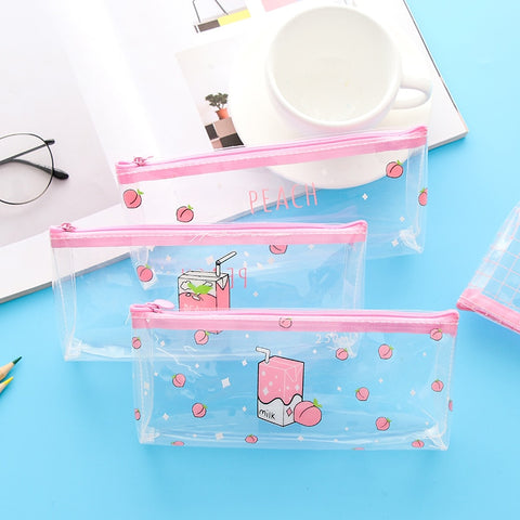 Peach Milk Transparent Pencil Case
