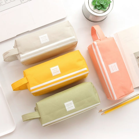 Solid Color Transparent Mesh Pencil Case - Strawberry Notebook
