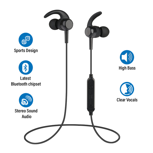 pTron Avento Lite High Bass In-Ear Stereo Wireless Earphones - (Black)