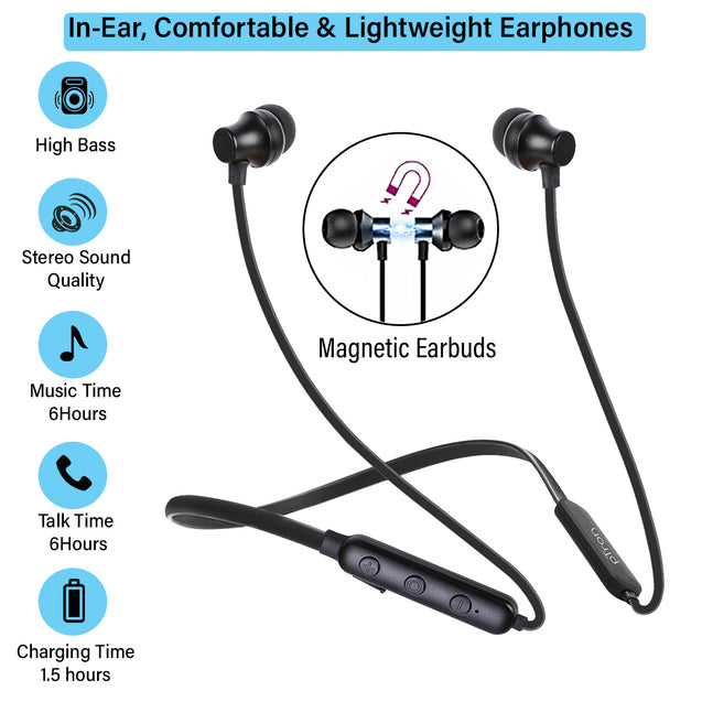 pTron InTunes Lite High Bass In-Ear Wireless Headphones with Mic For All Infinix Smartphones  - (Black)