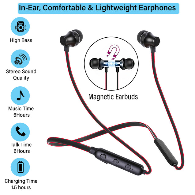 pTron InTunes Lite High Bass In-Ear Wireless Headphones With Mic - (Black/Red)