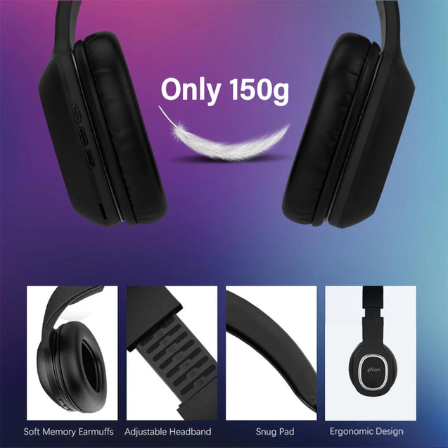 pTron Soundster Lite Over-Ear Bluetooth Headset with High Bass & 12Hrs Playback Time For Vivo S1/S1 Pro - Black