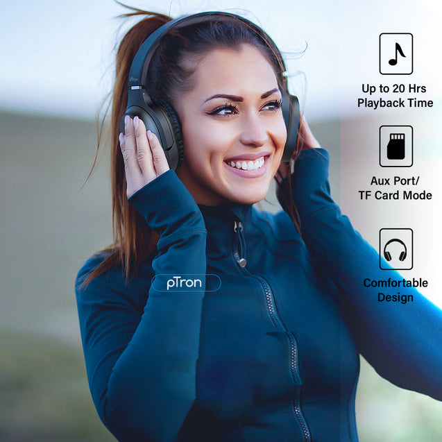 pTron Soundster Pro Over-Ear Bluetooth Headphones with High Bass  for All Smartphones - Black