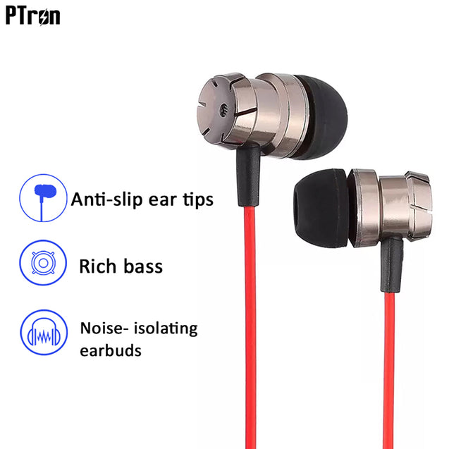 Refurbished - PTron HBE6 Earphone Metal Bass Headphone With Mic For All Smartphones (Black & Red)