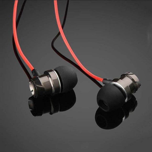 PTron HBE6 Earphone Metal Bass Headphone With Mic For All Smartphones (Black & Red)
