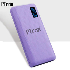 PTron 10000mAh Flare Power Bank For All Smartphones With 2 USB Port & Digital Display (Purple)