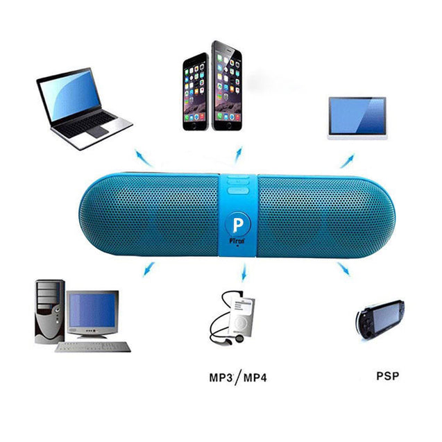 PTron Streak Multifunctional Metal Pill Wireless Bluetooth Speaker for All Smartphones (Blue)